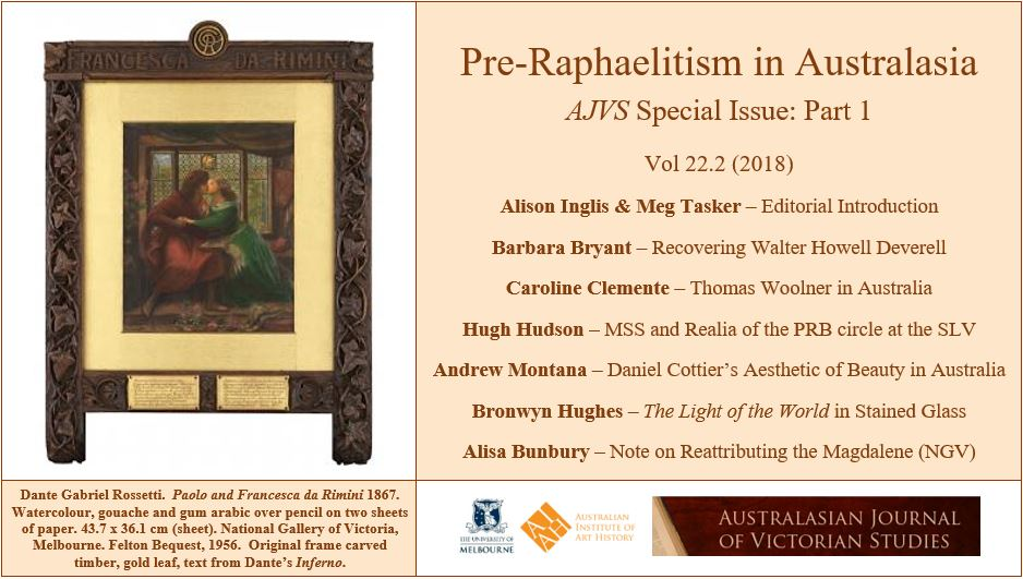 Cover image of Rossetti painting and summary of issue contents.